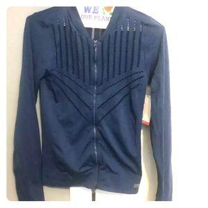 Marika L Navy Peony Dry-Wik Zip Activewear Jacket
